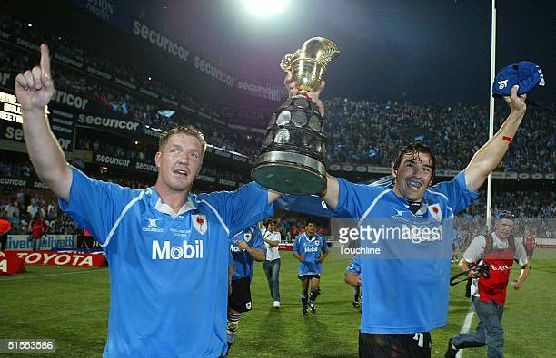 Bakkies Botha and Victor Matfield of the Bulls celebrate victory during the ABSA Currie Cup Final between the Blue Bulls and the Cheetahs at Loftus...