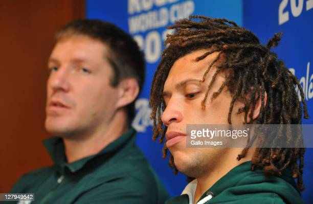 Bakkies Botha and Zane Kirchner during the South African national rugby team media conference and mixed zone at Amora Hotel on October 04, 2011 in...