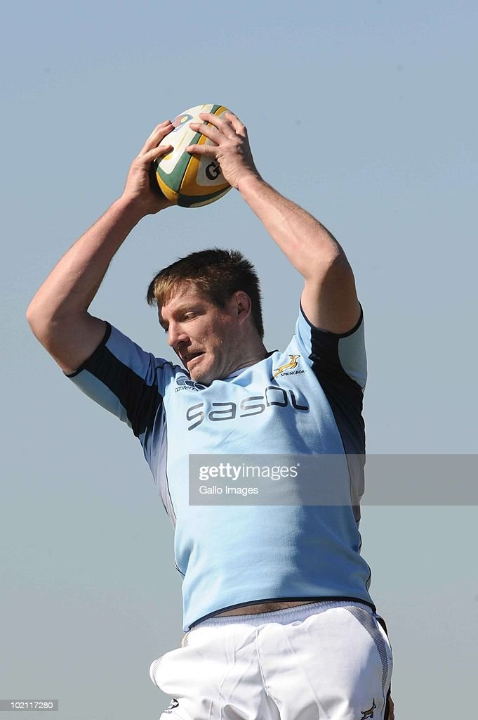 Bakkies Botha during the Springbok training session on 15 June 2010, at the Warren Township High School (WTHS) in Witbank, South Africa.