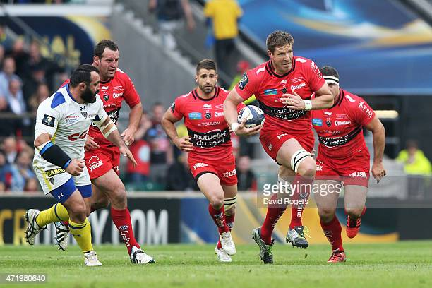 Bakkies Botha of Toulon makes a break during the European Rugby Champions Cup Final match between ASM Clermont Auvergne and RC Toulon at Twickenham...