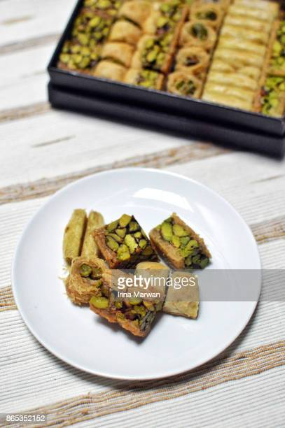 baklava - assorted middle eastern pastries - iranian culture stock photos and pictures