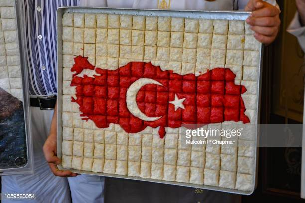 Baklava tray with Turkish flag and map design