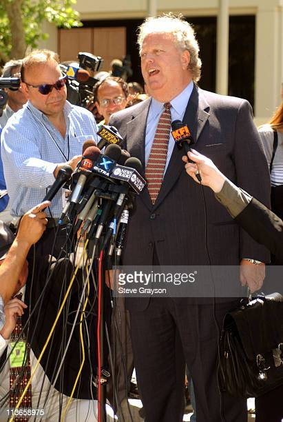 Bakley family attorney Cary W Goldstein speaks to the news media after the arraignment of actor Robert Blake in the slaying of Bonny Lee Bakley