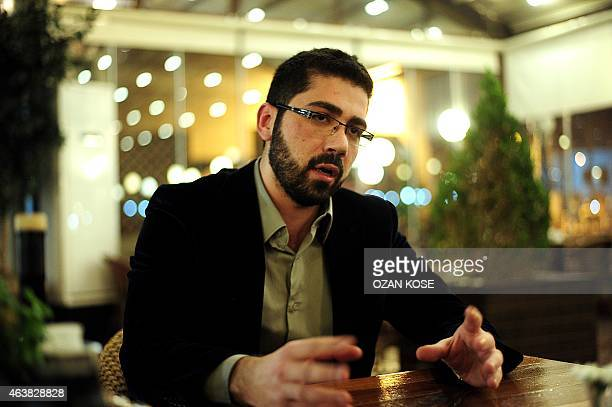 Bakri Kaakeh Deputy Director of General Affairs of Syrian National Coalition in Gaziantep poses speaks during an interview on January 252015 in...