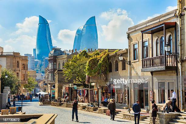 baku azerbaijan inner city cityscape, flame towers skyscrapers skyline - azerbaijan stock pictures, royalty-free photos & images