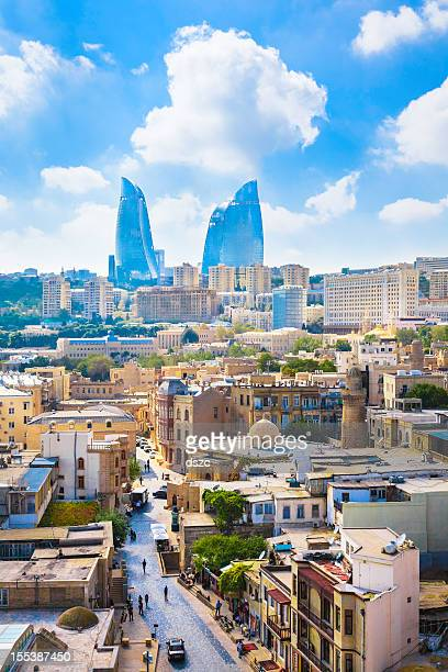 baku azerbaijan skyline cityscape with modern architecture flame towers skyscrapers - azerbaijan stock pictures, royalty-free photos & images