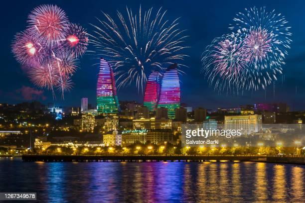 baku celebrates - azerbaijan stock pictures, royalty-free photos & images