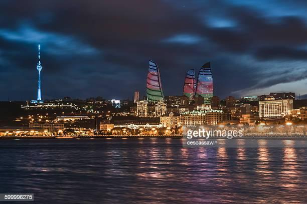baku cityscape at night azerbaijan - baku stock pictures, royalty-free photos & images