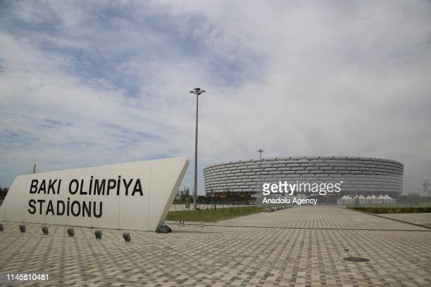 Baku Olympic Stadium is seen as last preparations are being made for UEFA Europa League final match between Chelsea and Arsenal on May 29 in Baku,...