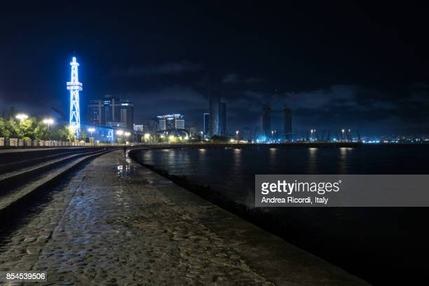 Baku seafront by night, Caspian sea, Azerbaijan