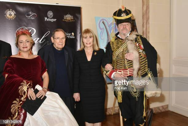 Bal des Tsars organizer Anastasia Gai, Candice Patou, Robert Hossein and hussard Peter Hoesel attend Bal Des Tsars Et Des Tsarines At Hotel...