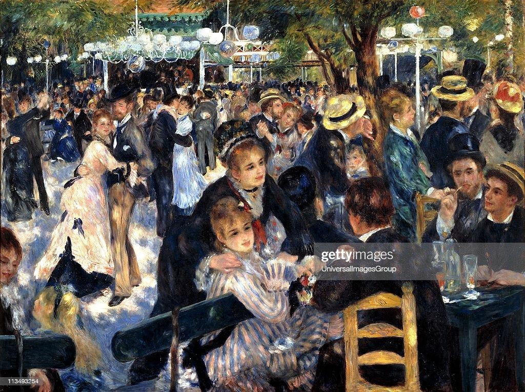 Bal du moulin de la Galette' (Dance at the Moulin de la Galette), 1876. Oil on canvas. Pierre-Auguste Renoir (1841-1919) French painter. Crowded scene at the open-air dance garden, Butte Montmartre, Paris, France. ... : News Photo