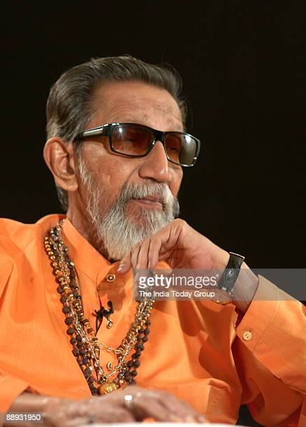 Bal Thackeray Shiv Sena Chief on the sets of Seedhi Baat a popular TV show aired on Aaj Tak in Mumbai Maharashtra India