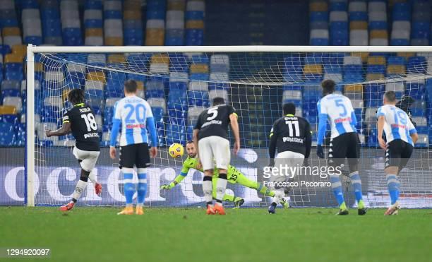 Bala Nzola of Spezia scores their team's first goal during the Serie A match between SSC Napoli and Spezia Calcio at Stadio Diego Armando Maradona on...