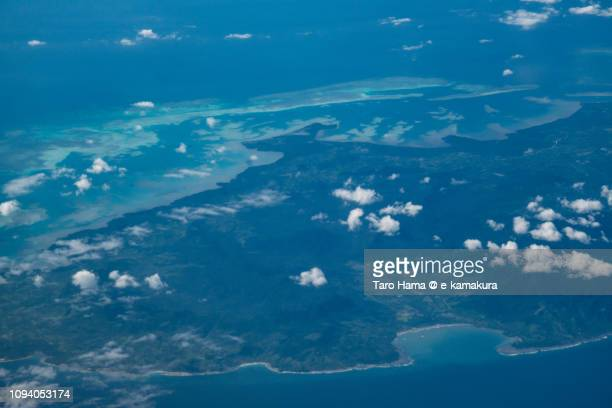 Balabac Island in Province of Palawan in Philippines daytime aerial view from airplane