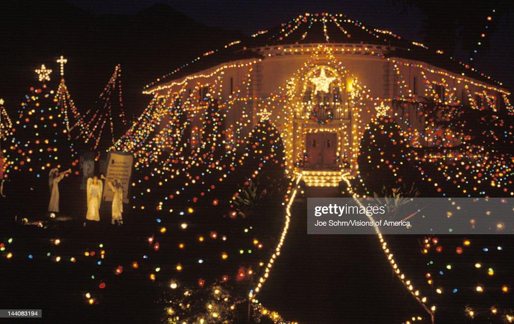 balad house decorated with christmas lights at night pasadena california news photo