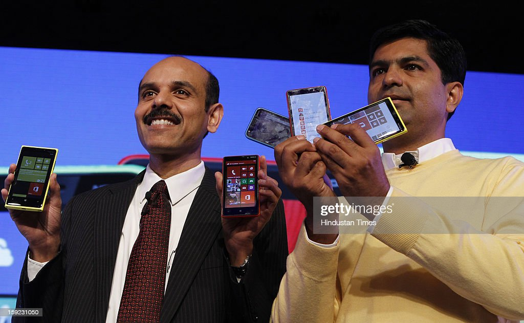 P Balaji Nokia India MD and Vice president with Vipul Mehrotra, Director & Head - Smartphone Devices, Nokia India at the launch of its Lumia 620 Smart Phone with Windows Phone 8 on January 10, 2013 in New Delhi, India. The Lumia 620 sports a 3.8-inch TFT WVGA display (800X480) with ClearBlack technology and is powered by a 1GHz dual-core Snapdragon S4 processor with 512MB RAM and has 8GB internal storage with microSD support upto 64GB. The device will be available in market early February.