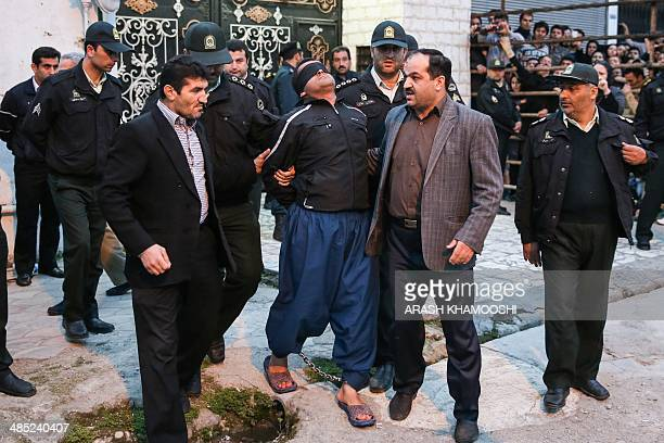 Balal who killed fellow Iranian youth Abdolah Hosseinzadeh in a street fight with a knife in 2007 is brought to the gallows by judicial officals...