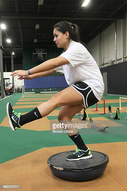 Balance and core are important offslope training exercises for Julia Marino of Winchester who is representing Paraguay in the 2014 winter Olympics in...