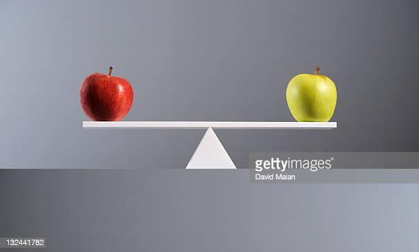 Balance between a red & a green apple.