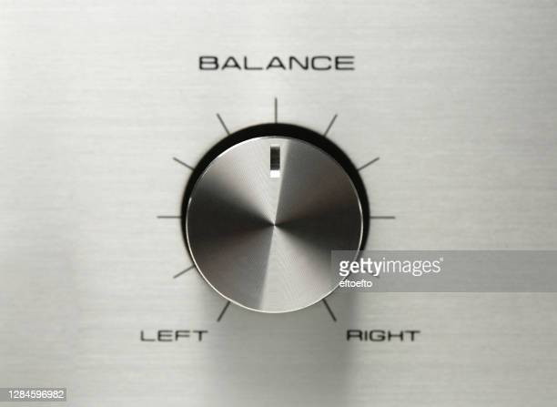balance button, sound control, music knob with metal aluminum or chrome texture and number scale isolated on gray background - amplifier stock pictures, royalty-free photos & images