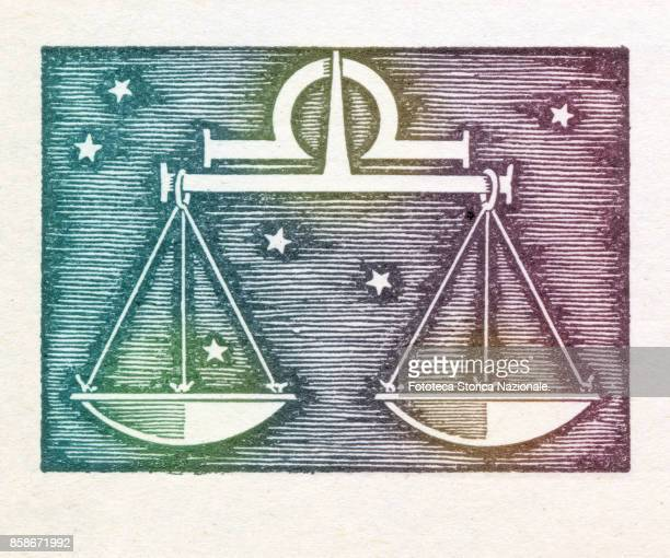 Balance is the seventh sign of the zodiac of western astrology cardinal and of air from 23 September to 22 October Colored version of woodcut of 1942...