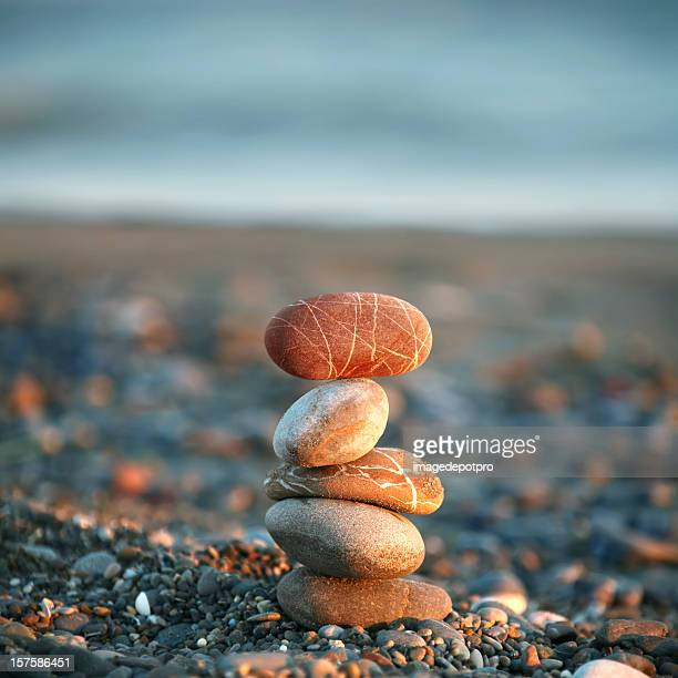 balance of pebbles - stone object stock pictures, royalty-free photos & images