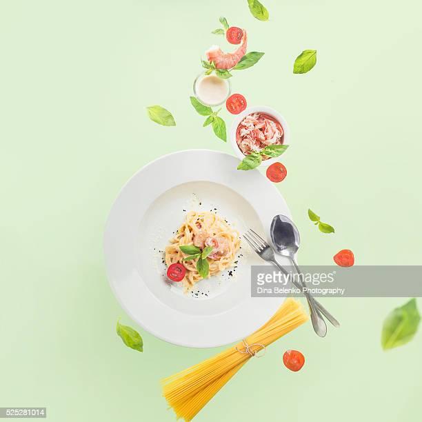 Balance of seafood pasta