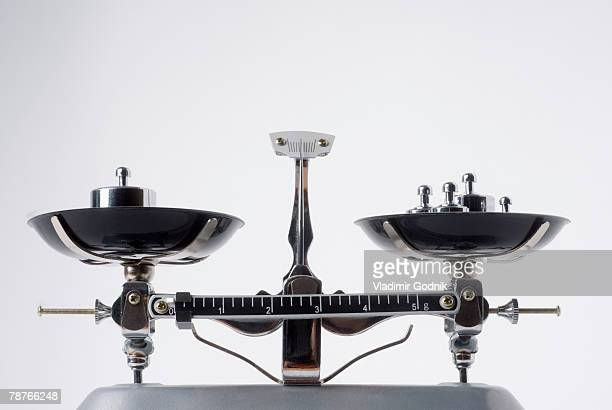 Balance scales with metal weights