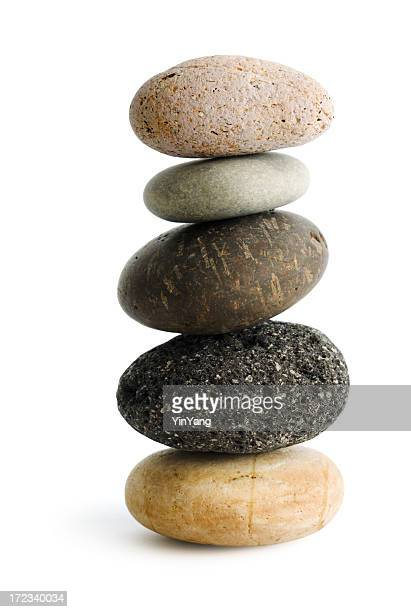 Balance Stack Stone Pebble, Buddhist Zen Rock on White Background