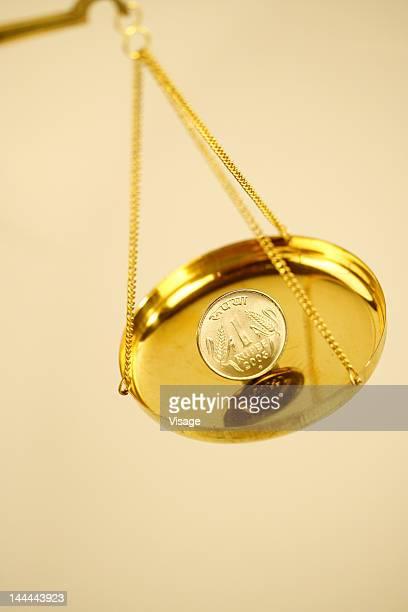 A balance with money