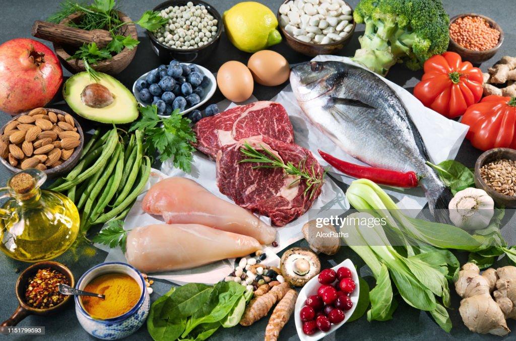 Balanced diet food background : Stock Photo