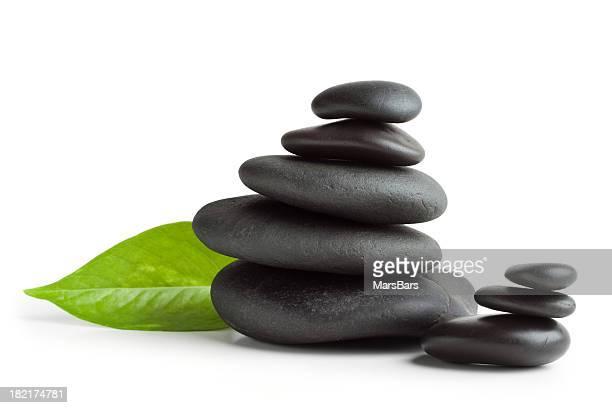 Balanced massage stones, isolated