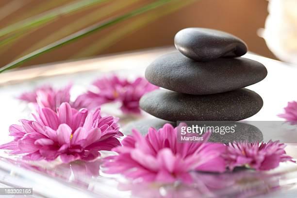 Balanced massage stones spa scene