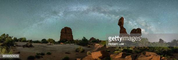 balanced rock milky way - mesa arch stock pictures, royalty-free photos & images