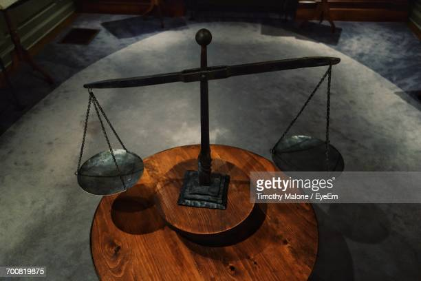 Balanced Weight Scale On Table