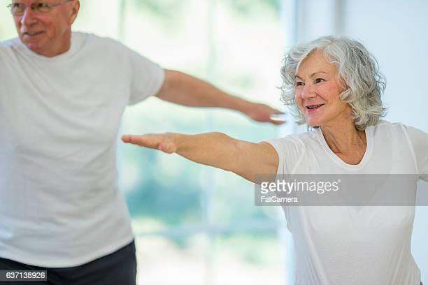 Balancing in a Yoga Class