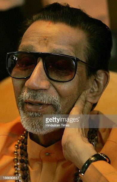 Balasaheb Thackeray attends a press conference at Kankavali on November 17 2005 in Mumbai India