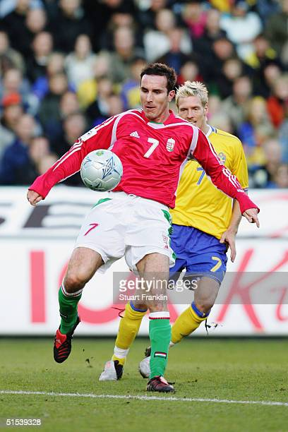 Balasz Molnar of Hungary and Christian Wilhelmsson of Sweden in action during the World Cup 2006 Qualifying match between Sweden and Hungary at The...