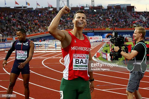 Balazs Baji of Hungary celebrates after he came in second in the men's 110m hurdles final at the European Athletics Championships in Amsterdam the...