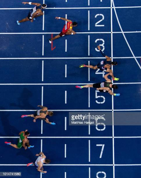 Balazs Baji of Hungary Gregor Traber of Germany Sergey Shubenkov of Authorised Neutral Athletes and Pascal MartinotLagarde of France compete in the...