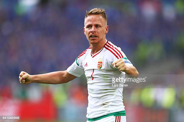 Balazs Dzsudzsak of Hungary celebrates at the full time whistle during the UEFA EURO 2016 Group F match between Iceland and Hungary at Stade...