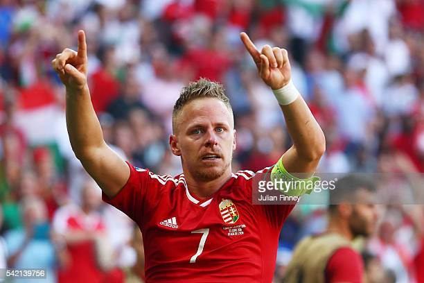 Balazs Dzsudzsak of Hungary celebrates scoring his team's second goal during the UEFA EURO 2016 Group F match between Hungary and Portugal at Stade...