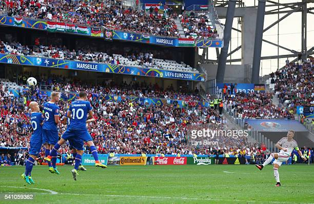 Balazs Dzsudzsak of Hungary takes a freekick during the UEFA EURO 2016 Group F match between Iceland and Hungary at Stade Velodrome on June 18 2016...