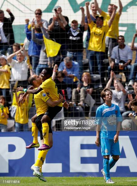 Balazs Toth and Ahmed Musa of Venlo celebrates after the second goal during the Dutch Eredivise Play Off match between VVV Venlo and FC Volendam at...