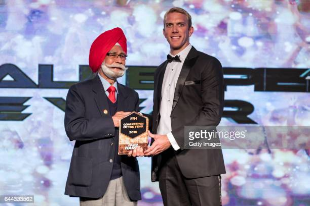 Balbir Singh [R] Three Time Olympic Gold Medalist presents the FIH Male Goal Keeper of the Year award to David Harte [R] of Ireland during the FIH...