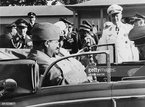 Balbo Italo Politician Italy *05061896* after his arrival at the airport Staaken near Berlin with Hermann Goering a car taking them to the Hotel...