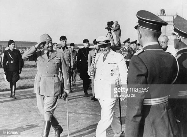 Balbo Italo Politician Italy *05061896* after his arrival at the airport Staaken near Berlin with Hermann Goering 1938 Photographer Herbert Hoffmann...