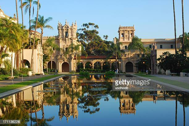 balboa park in reflection, san diego - san diego stock pictures, royalty-free photos & images