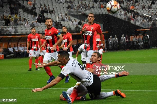 Balbuena of Brazil's Corinthians vies for the ball with David Mendoza of Venezuela's Deportivo Lara during their 2018 Copa Libertadores football...